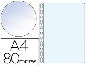 FUNDA MULTITALADRO Q-CONNECT DIN A4 80 MC CRISTAL BOLSA DE 100 UNIDADES