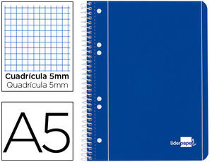 CUADERNO ESPIRAL A5 CUADROS LIDERPAPEL MICROPERFORADO 80GR