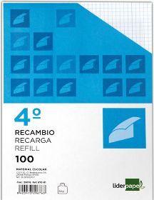 RECAMBIO LIDERPAPEL CUARTO 100 HOJAS 60G/M2 LISO SIN MARGEN 6 TALADROS