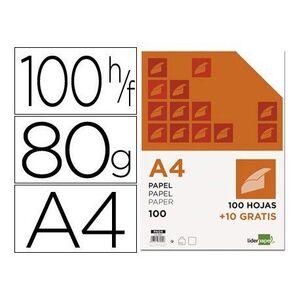PAPEL LIDERPAPEL DIN A4 80 GR -PAQUETE DE 100 HOJAS + 10 HOJAS GRATIS