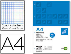 RECAMBIO LIDERPAPEL A4 100H 100G/M2