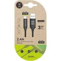 CABLE USB 2,4 TECH ONE TECH BRYDED NYLON 1MT NEGRO