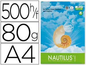 PAPEL FOTOCOPIADORA NAUTILUS DIN A4 80 GRS - PACK 500 HOJAS 100% RECICLADO