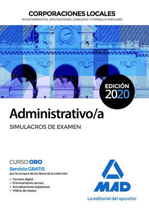 ADMINISTRATIVO/A DE CORPORACIONES LOCALES. SIMULACROS DE EXAMEN